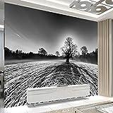 HONGYAUNZHANG Schwarz Und Weiß Einsamer Baum Benutzerdefinierte Fototapete 3D Stereoskopische Wandbild Wohnzimmer Schlafzimmer Sofa Hintergrund Wandbilder,110Cm (H) X 190Cm (W)