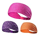 NUREINSS Stirnband 3PCS Non Slip Unisex Stretch Elastische Sport Schweißband Headbands Head Wrap für Yoga, Basketball, Running, Fußball, Tennis - Haarschmuck (color3)