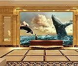 YUANLINGWEI Benutzerdefinierte Wandbild Tapete Kreative Meer Wal Delphin Tier Muster Wohnzimmer Wand Dekoration Wandbild Tapete,130Cm (H) X 210Cm (W)