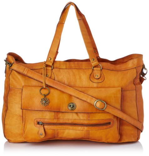 PIECES TOTALLY ROYAL LEATHER TRAVEL BAG NOOS 17055349 Damen Umhängetaschen, 1 Groesse (one size), Braun (Cognac)