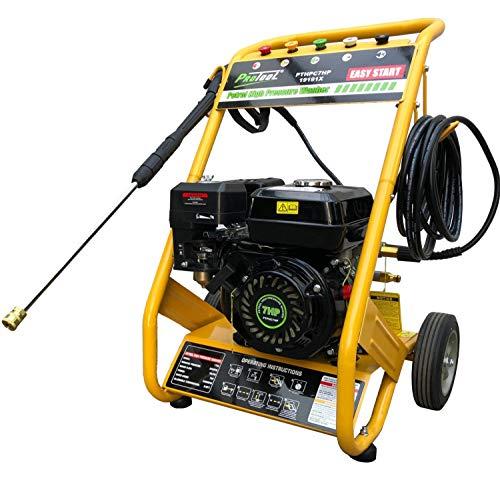 Protool Benzin Hochdruckreiniger 7 PS mit 170 bar Druck | Förderleistung 600 Liter pro Stunde | Drehzahl 3400 / min | 1 Zylinder 4 Takt Motor luftgekühlt