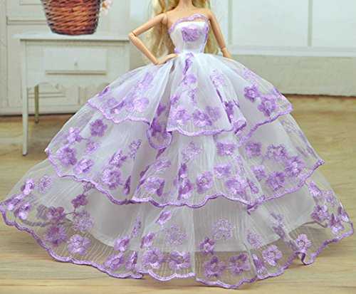 AK20 Schöne und modische Handgefertigte Puppe Kleidung für Barbie Puppen/kleid/Pyjama/Puppenzubehör Dress Up/Spitzenkleid (Rosa) (1991 Puppe Barbie)