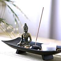 CANDELIERE Mini Buddha, tre piccoli templi, meditazione,