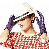 DIDIDD Femmes 'S Warm Fashion Cuir Gants en peau de mouton Long Classique Back Lace Hiver Chaud 5 Couleurs,Violet,Moyen