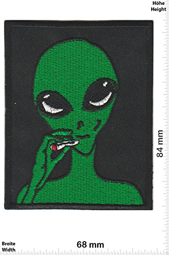 Patch-Iron-Somking Alien - Dope - - Fun - Alien - Iron On Patches - Aufnäher Embleme Bügelbild Aufbügler
