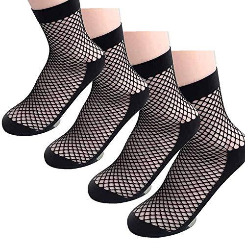 Shangcer Warme Socken Frauen Fischnetz Socken Knöchel Sexy Spitze Net Plain Top-Knöchel Kurze Socken Mesh Socken Schwarz-2 Paare Unisex - Knöchel Fischnetz-socken