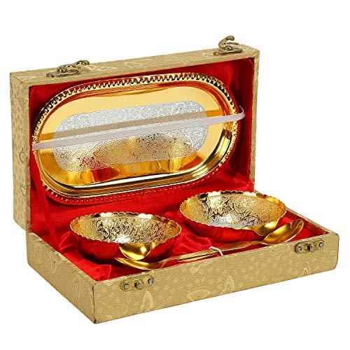 Zap Impex ® Entwerfer Geschirr Dekor Gravur Gold überzogenes Schüssel Set Tablett & Löffel (Messing-teller Gravur)
