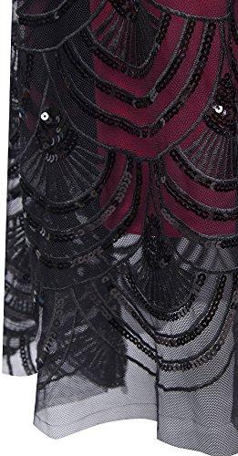 Angel-fashions Femme Paillette bretelles train chapelle Lace Up longue robe de bal Noir