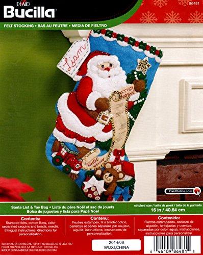 Bucilla 86481Filz Aufnäher Weihnachtsstrumpf Kit (40,6cm), Santa Liste & Spielzeug Tasche, 40,6cm