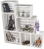 LAUBLUST 7er Set Vintage Holzkisten - Kisten in 2 Größen, 50x40x30cm / 40x30x25cm, Weiß Lackiert, Unbenutzt   Möbel-Kiste   Wein-Kiste   Obst-Kiste   Apfel-Kiste   Deko-Kiste aus Holz