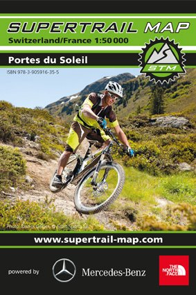 Supertrail Map (STM) Portes du Soleil (Schweiz - Wallis, Frankreich – Savoyen), Val d' Abondance, Mont de Grange, Morzine, Champery, Tour de Don, Les Cornettes de Bise, Seytroux, Bonnevaux, Col de la Joux Verte, Troistorrents, Mountainbike-Karte, Bike-Karte 1:50.000, Wasser- und reißfest, Outkomm GmbH