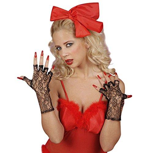 Amakando Burlesque Spitzenhandschuhe Spitze Fingerhandschuhe Sexy Netzhandschuhe Fingerlose Handschuhe Karneval Kostüm Damen Sexy Zubehör Can Can Girl Accessoire Elegante - Handschuhe Sexy Kostüm Zubehör