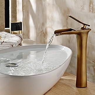 gimili cascada alto final Tall baño fregadero grifos sola manija buque Bar grifo de agua grifo mezclador para fregadero, latón envejecido