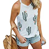 Luckiests Frauen-Mädchen-Rundhalsausschnitt-Sommer-T-Shirt Tank Tops Cactus Print Sleeveless Tee