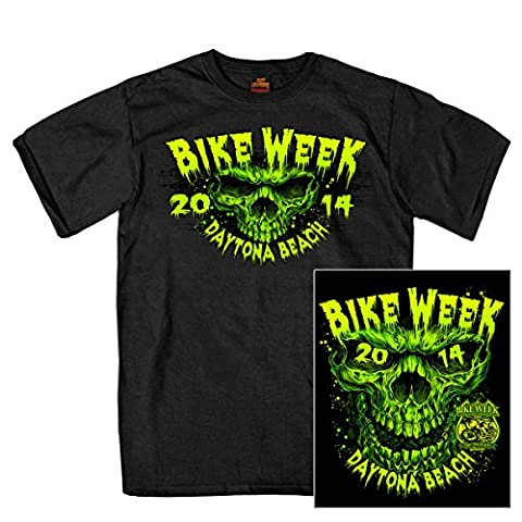 Daytona Bike Week Back Print T Shirt Neon Green–Season