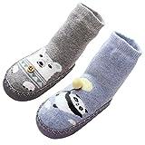 LIUCHENGHANG - Bebé Niños Niñas 2 Pares de Calcetines Largos Antideslizantes para Invierno Zapatillas de Casa para Primer Paso Calentito Suave Socks Homewear for Baby - 1-2 Años - Gris Azul
