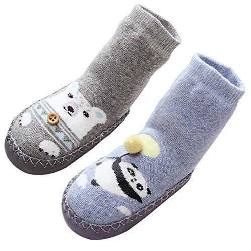 LIUCHENGHANG - Zapatillas de Casa Invierno para Niñas Calentito Zapato Antideslizantes para Bebés Primer Paso Suave Transpirable Estampado Animales - 0-1 Años - Gris Azul