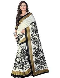Alka Fashion Women's Poly Cotton Saree With Blouse Piece (Afs272C_White)
