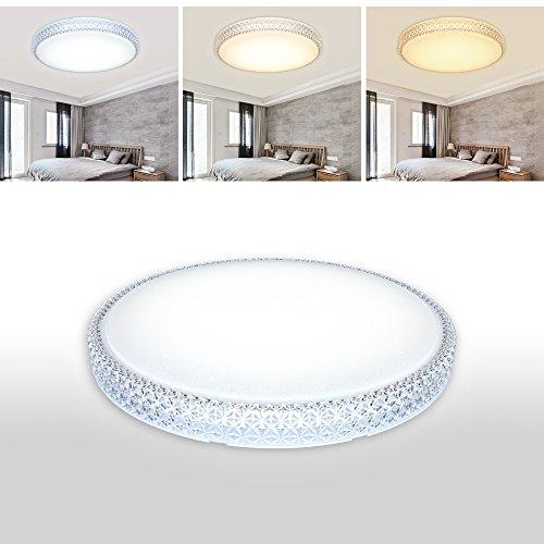 VGO® LED 60w Kristall Deckenleuchte Starlight Effekt 3in1 Farbwechselfunktion rund Deckenlampe Badezimmer geeignet Abstrahlwinkel 120°