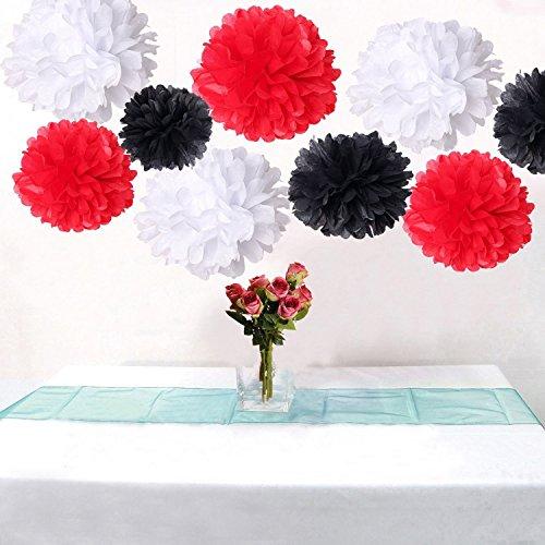 18 Stück Fluffy Schwarz Weiß Rot &Große Pompoms Party Deko für Hochzeit / Verlobung / Jubiläum / Geburtstag, Design