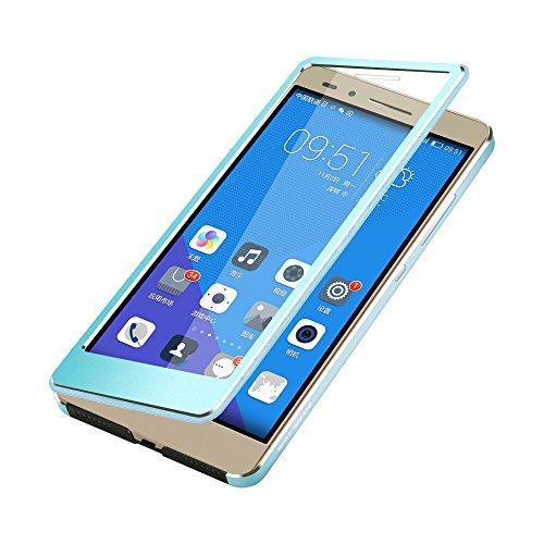 Oats® Huawei Honor 7 Schutzhülle mit stylischer Aluminium Vorder und Rückseite Sichtfenster Anrufe schnell Annehmen Hülle Hard Cover Flip Back Case Tasche - von OKCS® in Schwarz Blau