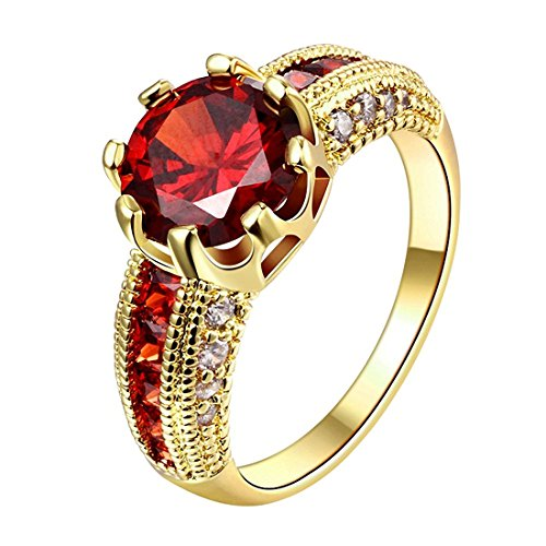 Peora Dazzling Imperial Red Austrian Crystal 18K Real Gold Plated Ring for Women & Girls