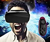 FOME nueva generación 3d VR gafas de realidad virtual auriculares películas y juegos para todos 3.5 ~ 6.0 'Smart Phones iPhone 6/iPhone 6 Plus/LG G3/Galaxy Note 4/Galaxy Note 3/Galaxy S6 EDGE/Galaxy S6/Sony Xperia T2 Ultra/Xperia Z3 +/MOTO Nexus 6/HTC One Max negro + FOME regalo, 3D Vr Glasses Black with Controller