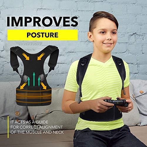 Correttore postura per corsetto per bambini Donna,cinturino regolabile in neoprene Migliora postura e supporto lombare per ridurre dolori della schiena e della schiena