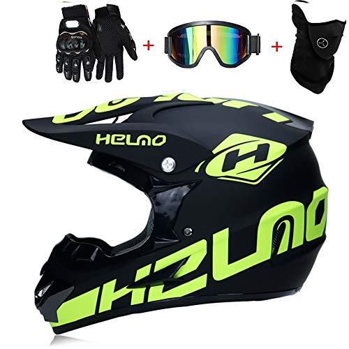 TKGH Casco Motocross, Casco Integrale da Motociclista Casco da Mountain Bike Adulto da Sport Avventura Casco Enduro MTB Casco da Moto Cross con Guanti Occhiali da Maschera S, M, L, XL,L