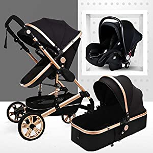 Travel System Infant Carriage Portable Baby Stroller 3 in 1 Infant Pram with Shock-Resistant Pushchair for Newborn and Toddler Foldable Anti-shock High View Carriage (3 In1,Black)   15