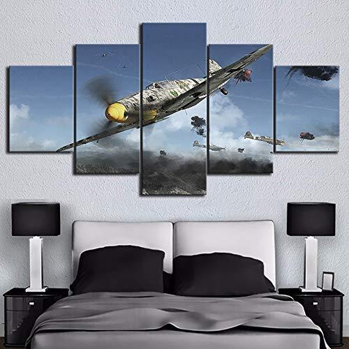 zfkdsd Wandbild Wandkunst Leinwand Poster 5 Stücke Flugzeug Weltkrieg Bilder Schießen Spiel Malerei Für Wohnzimmer Drucke Wohnkultur (Rahmen)-L