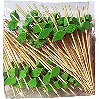 [Hojas] 200 piezas de bambú desechables Selecciones de cóctel Frutas Selecciones Fuentes del partido