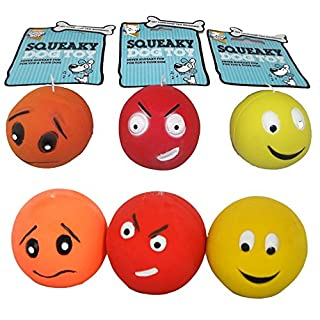 6 PACK GOODBOY ARMITAGE SQUEAKY LATEX FACE BALLS DOG PUPPY TOYS 08209