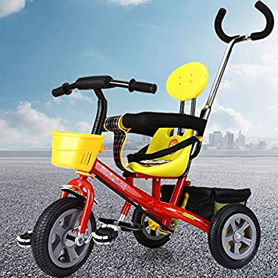 QXMEI 3 In 1 Childrens Tricycles 6 Months To 5 Years Kids Tricycle Detachable And Adjustable Push Handle Blockable Rear Wheels The Seat Can Be Adjusted Back Maximum Weight 40 Kg,Red-OneSize