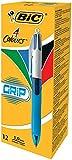 BIC 4-Farb-Druckkugelschreiber Grip / 4 in 1 Kugelschreiber / Rot, Blau, Schwarz und Grün / Dokumentenecht / Mit Gummi-Griffzone / Nachfüllbar / Strichstärke 0,4mm / Stifte Set mit 12 Mehrfarbenstiften