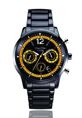 Unisex del deporte del cuarzo del reloj digital de Rino con esfera analógica y de color negro y pulsera de acero inoxidable