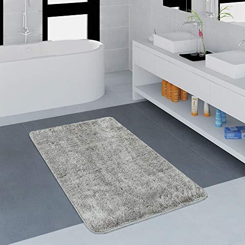 Paco Home Moderner Badezimmer Teppich Einfarbig Microfaser Kuschelig Gemütlich In Grau, Grösse:50x80 cm -