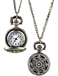 Sannysis® Bronce de la vendimia de cuarzo reloj de bolsillo con cadena pendiente A
