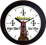Lucky Clocks BIERUHR KEIN BIER VOR VIER 4 FLASCHE lustige originelle Wanduhr für Bierfans für jeden Anlass mit jeder Beschriftung und jedem Vornamen Namen erhältlich