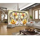 YzybzPapier Peint Mural Personnalisé 3 D Sur La Voûte Murale De 3 D Reliefs Lys Tv Cadre Mural Famille Parure Papier Peint-480 * 290cm