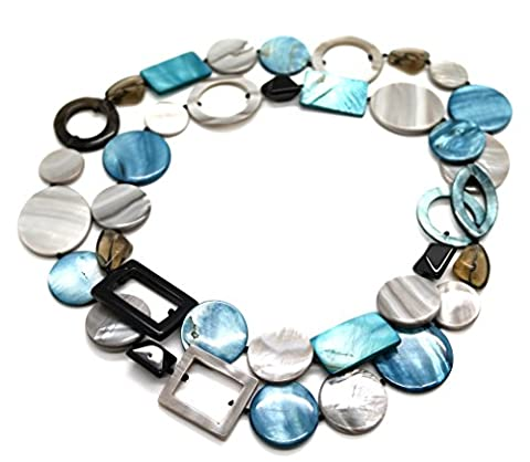Superb Mother of Pearl and Mixed Natural Gemstone Long Necklace Gentle Blue (100)