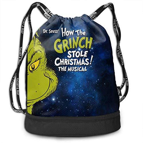 HLKPE Grinch Stole Christmas Large Drawstring Sport Backpack Sack Bag Sackpack