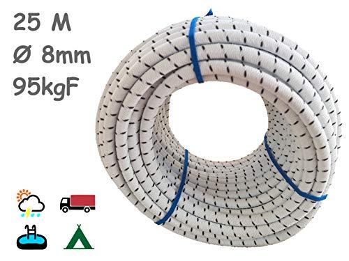 Cuerda Elastica 8mm. Monotex Polietileno. Piscinas (Standard NF P 90-308), Toldos, Acampadas, Exteriores.(25m, Blanco Chiné)