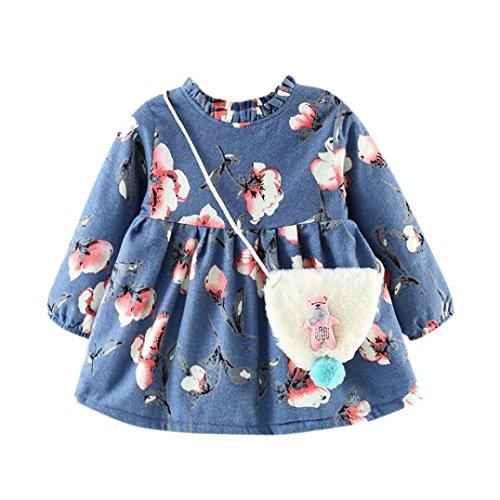 Mädchen Kleid+ Tasche, OverDose Neugeborenes Mädchen winter Herbst Cartoon Blumen Dicke Warme Langarm Prinzessin Kleid + Tasche Outfits Kleidung Set(12 Monate,B-Hellblau)