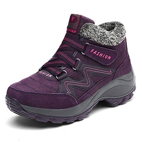 Shoes Winter Schneeschuhe, Große Baumwollstiefel, Studenten Runden Kopf Wasserdichte Rutschfeste Warme Schuhe, Outdoor-Wanderschuhe, Skischuhe,lila,39