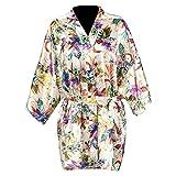 Partiss Damen Frauen Schlafanzug Japanischer Stil Morgenmantel Kimono,Tag L/EU S,White Short