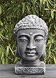 Buddha Kopf groß - Schiefergrau, Garten, Deko, Figur, Stein, Statue, Frostsicher