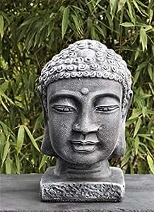 buddha kopf gro schiefergrau garten deko figur stein statue frostsicher garten. Black Bedroom Furniture Sets. Home Design Ideas