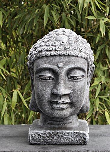 Buddha Kopf groß – Schiefergrau, Garten, Deko, Figur, Stein, Statue, Frostsicher