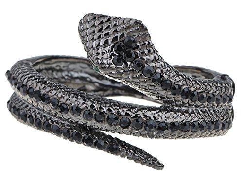 Alilang Frauen Gunmetal Farbton Schwarz Strass Antik Schlangen Verpackung Armreif (Kostüm Schmuck Broschen Großhandel)